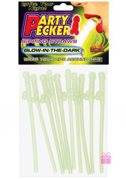 Party Pecker Sipping Straws Glow In The Dark 10 Per Pack