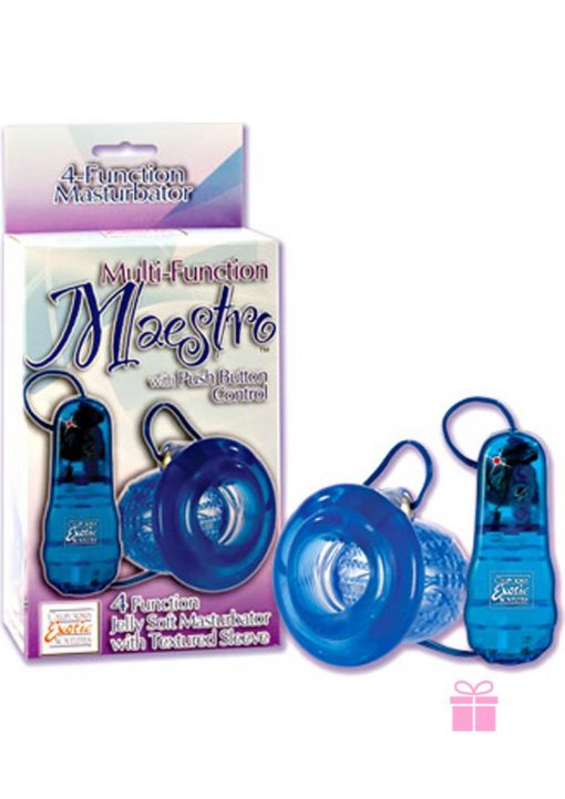 MEASTRO MULTIFUNCTION JELLY SOFT MASTURBATOR VIBRATING WITH REMOVABLE MINI BULLET BLUE