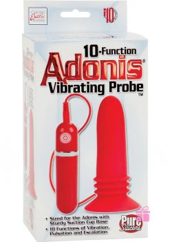 10 Function Adonis Vibrating Probe Silicone Red 5 Inch