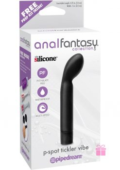 Anal Fantasy P-Spot Tickler Silicone Vibe Waterproof Black 4.75 Inch