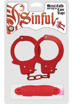 Sinful Metal Cuffs With Keys And Love Rope Red