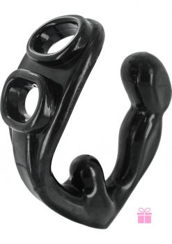 Master Series Rogue Erection Enhancer Cockring With Prostate Stimulator Black 4.5 Inch