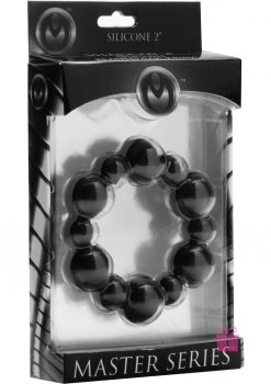 Master Series Shadow 2 Silicone Beaded Cock Ring Black 2 Inch