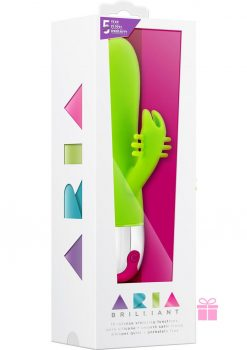 Aria Brillaint Silicone Rabbit Vibe Waterproof Green