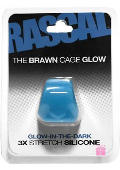Rascal The Brawn Cage Glow Cock Ring 3x Stretch Silicone Glow In The Dark Blue