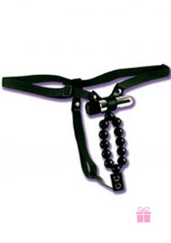 Vibrating Lovers Thong With Stroker Beads Waterproof Black