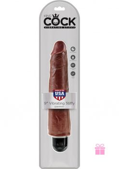 King Cock Vibrating Stiffy Realistic Dildo Waterproof Brown 9 Inch