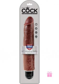 King Cock Vibrating Stiffy Realistic Dildo Waterproof Brown 10 Inch