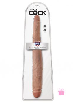 King Cock  16 Tapered Double Dildo -Tan