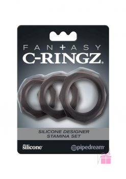 Fantasy C Ringz Silicone Stamina Set Black 3 Sizes Per Set