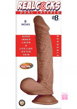 Realcocks Dual Layered 08 Bendable Dildo Waterproof Brown 9 Inch