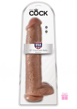 King Cock Realistic Dildo With Balls Tan 15 Inch