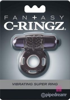 Fantasy C-Ringz Vibrating Super Ring Textured Cockring Waterproof Black 2.32 Inch Diameter