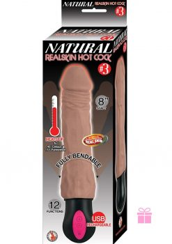 Natural Realskin Hot Cock 3 Dildo Waterproof Brown 8 Inch