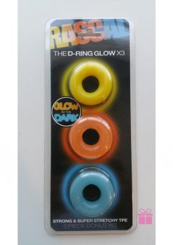 Rascal The D-Ring Glow X3 Glow In The Dark Cockrings Assorted Colors 3 Each Per Set