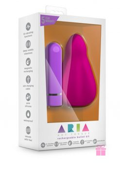 Aria Hot Tongue Silicone Rechargeable Bullet Kit Waterproof Pink